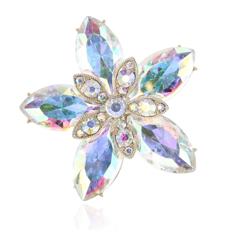 SP Sophia Collection Women's Shining Star Austrain Crystal Wedding Brooch in Iridescent