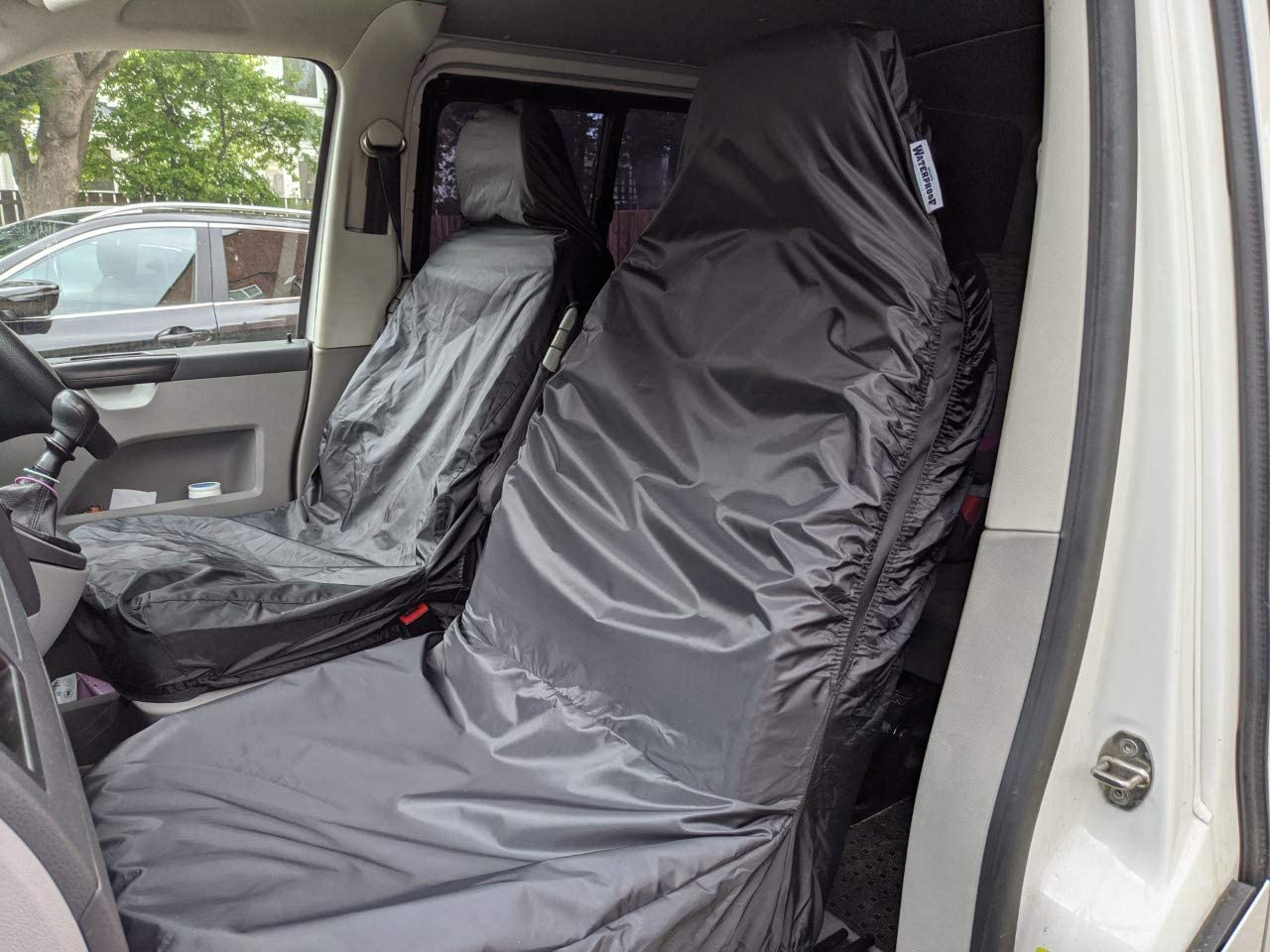 Waterproof Seat Cover Co Universal Fit Front Pair of Car Seat Covers AIRBAG COMPATIBLE BLACK