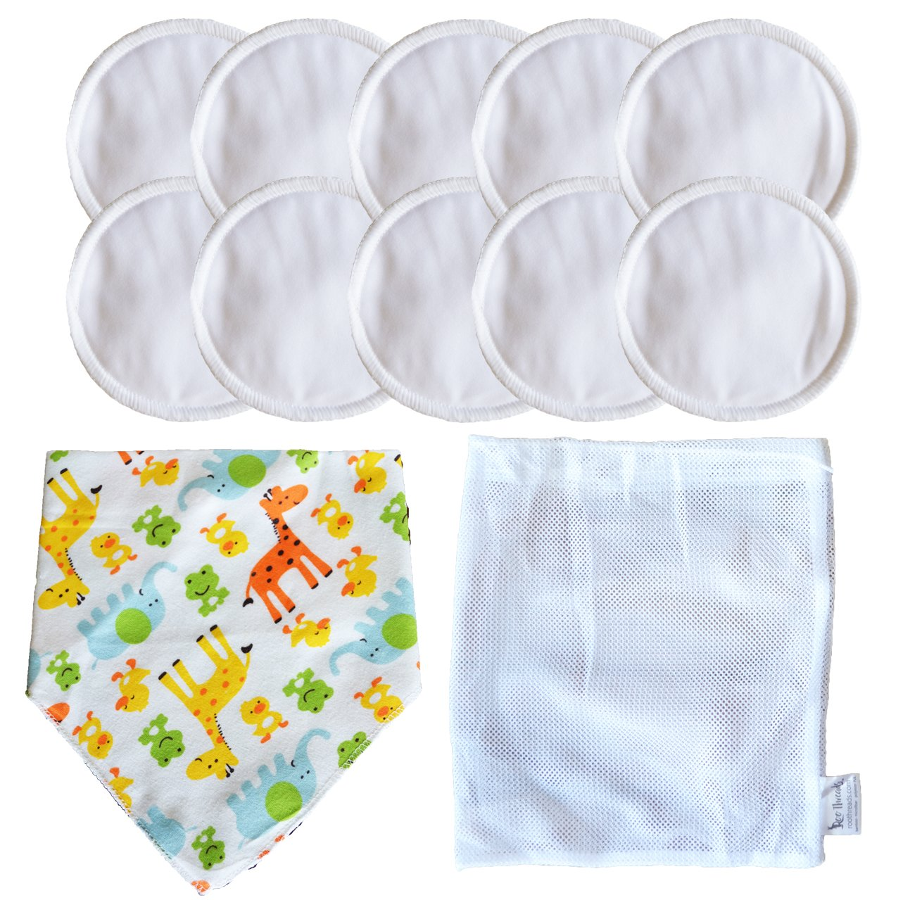 Roo Threads Reusable and Washable Bamboo Nursing Breast Pads, 10 pack