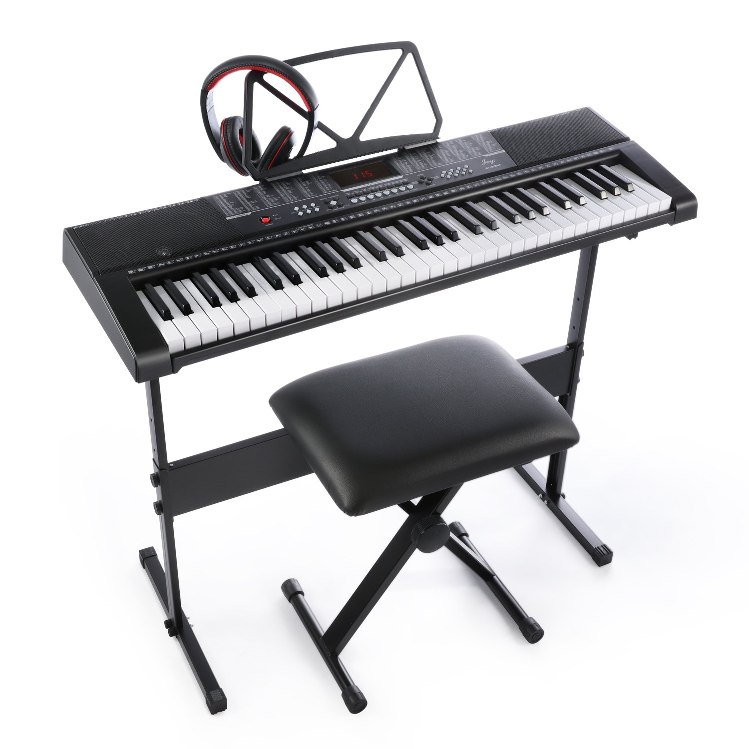 Joy 61 Standard Keys Keyboard with USB Music Player, Including Headphone, Stand, Stool & Power Supply (Jk-63M-Kit) by Joy