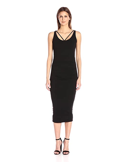 e592050bb82 Amazon.com  Michael Stars Women s Front to Back Midi Dress with Shirring   Clothing