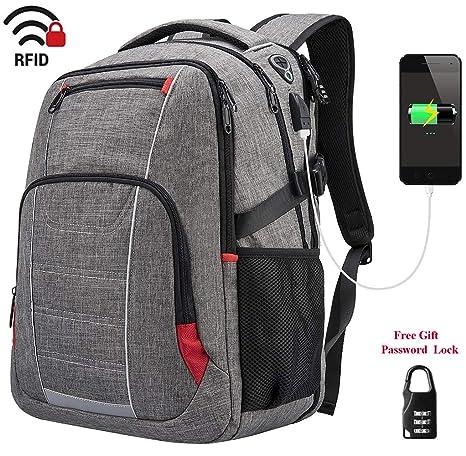 Mochila Portátil Ordenador Hombre Mochila con USB Puerto Antirrobo Impermeable Mochila para ordenador 17 Pulgadas hasta