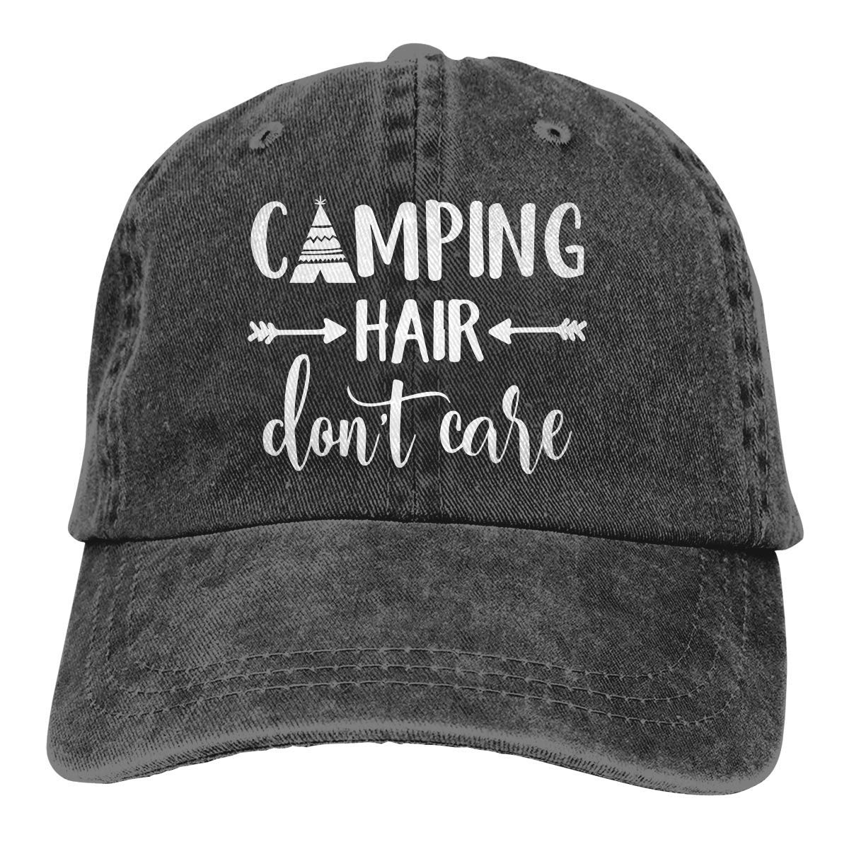 Unisex Camping Hair Don t Care-1 Vintage Jeans Baseball Cap Classic Cotton  Dad Hat Adjustable Plain Cap at Amazon Men s Clothing store  1332f43c56f