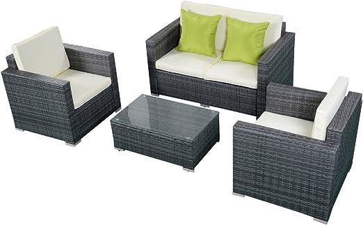 Tangkula- Juego de sillones para jardín de mimbre marrón oscuro, en diseño gradiente, con cojines, 4 piezas. : Amazon.es: Jardín