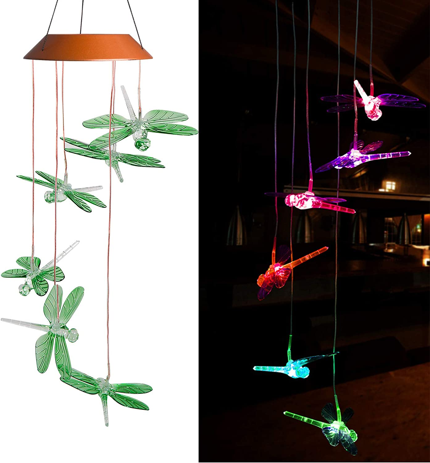 xxschy LED Solar Dragonfly Wind Chimes Outdoor - Waterproof Solar Powered LED Changing Light Color Six Dragonflies Mobile Romantic Wind-Bell for Home, Party, Festival Decor, Night Garden Decoration