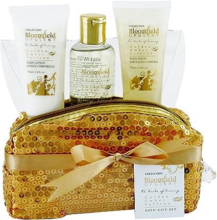 Gloss - Estuche de Baño, estuche de regalo para las mujeres - Dorado Elegante - Bloomfield -Aroma Ambar - 3 pzs: Amazon.es: Belleza