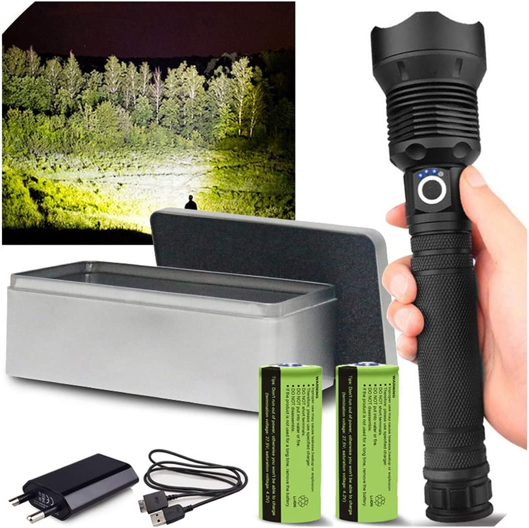 990000Lumens xhp90.2 Ultra Bright LED USB Rechargeable Zoomable Torch Flashlight