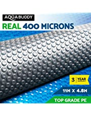 Solar Pool Cover 400 Micron Bubble 11M X 4.8M Blue Top Silver Bottom Solar Swimming Pool Heater Blanket for In-Ground Above-Ground Swimming Pools