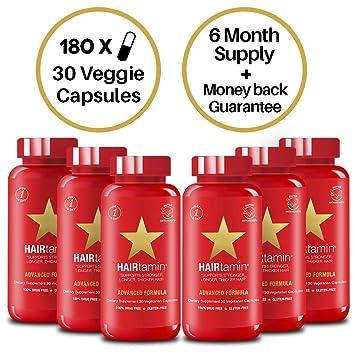 HAIRtamin Fast Hair Growth Biotin Vitamins Gluten Free thirty Vegetarian Capsules Supports Stronger Longer Thicker Hair