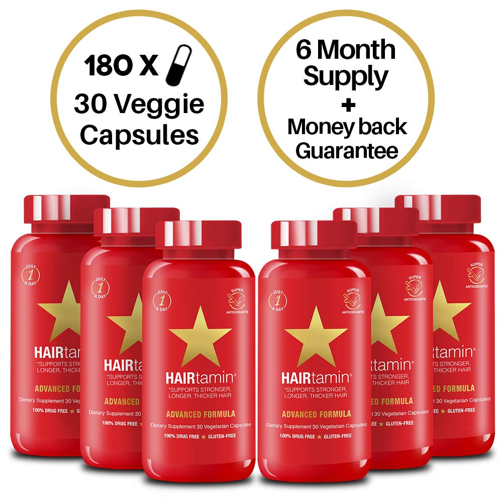 HAIRtamin Fast Hair Growth Biotin Vitamins Gluten Free thirty Vegetarian Capsules Supports Stronger Longer Thicker Hair Reduces Hair Loss and Thinning All Natural Supplement six pack
