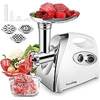Nestling® Picadora de Carne Eléctrica y Embutidora de Salchichas, 3 y 1 Salchicha y Trituradora Carne con 3 Placas de…