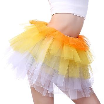 Anleolife 12quot Kids Adults Girl Sequins Tutu Skirts Dance Tutus Orange Yellow