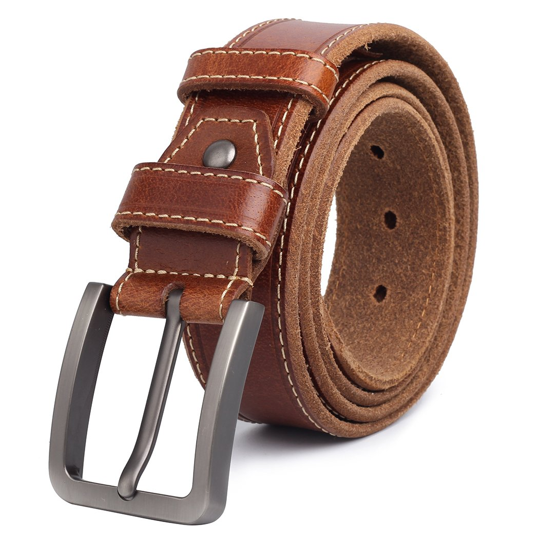 Full Grain Leather Belts for Men Western Brown Mens Belts Big and Tall 1 3/8' width (size:34-36inch(waist:35inch))
