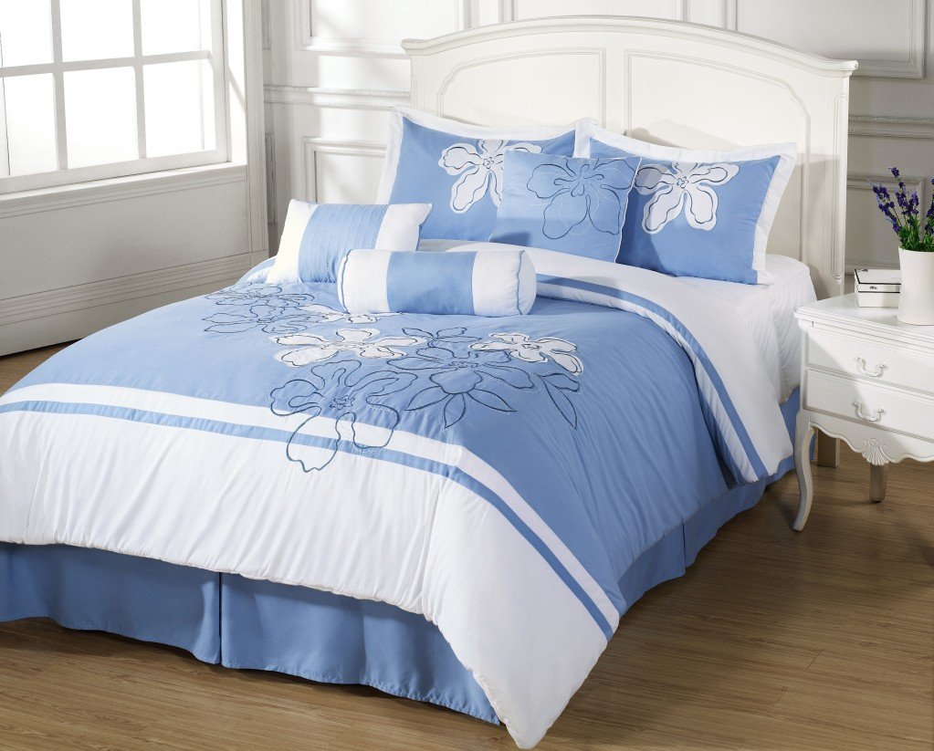 Blue and white bedding - Cielo 7pc Queen Size Comforter Set Embroidered Floral Light Blue White Bed Cover By Cozy