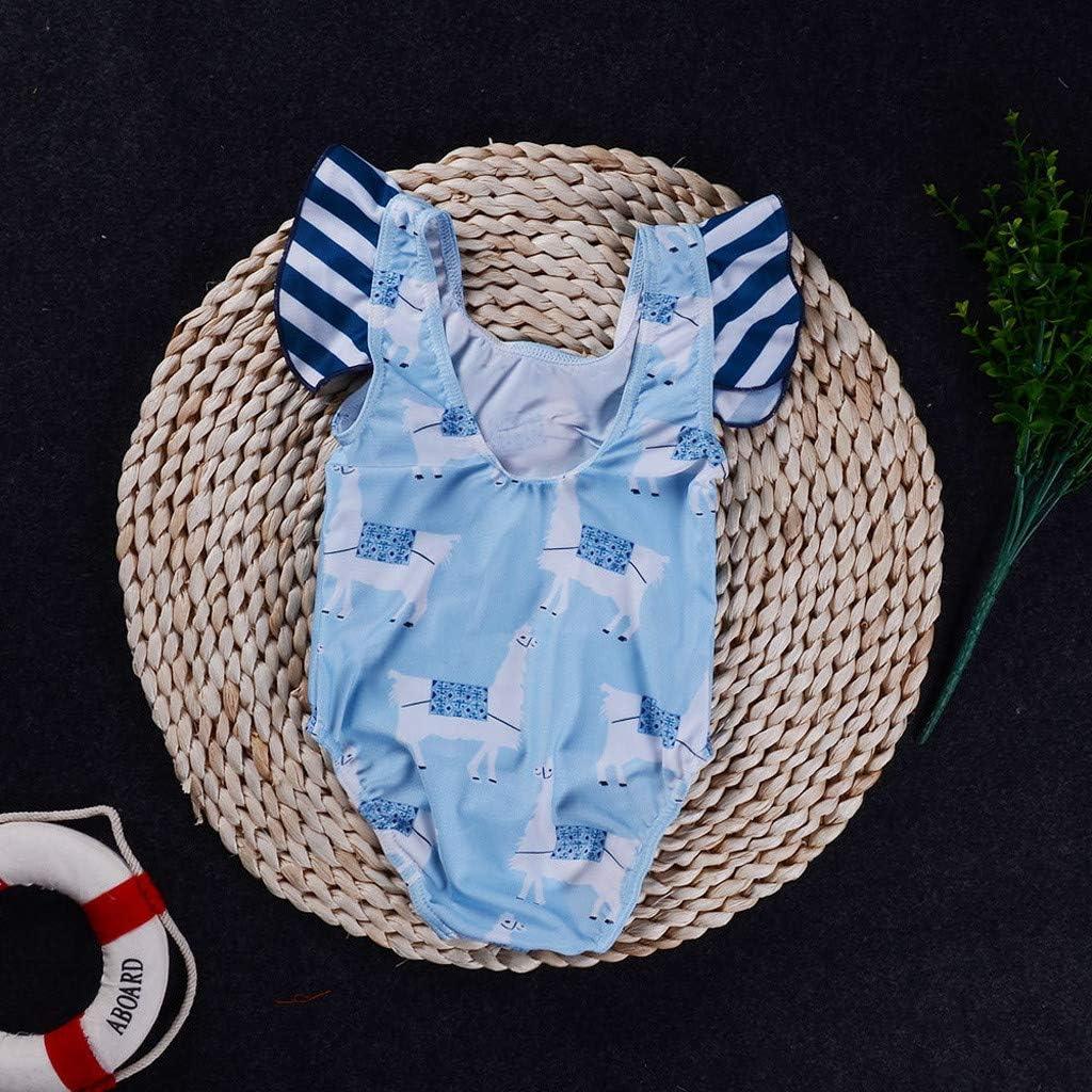 6 Months-5 Years Sayolala Infant Newborn Kids Baby Swimsuit Striped Cartoon Printed Romper Swimwear
