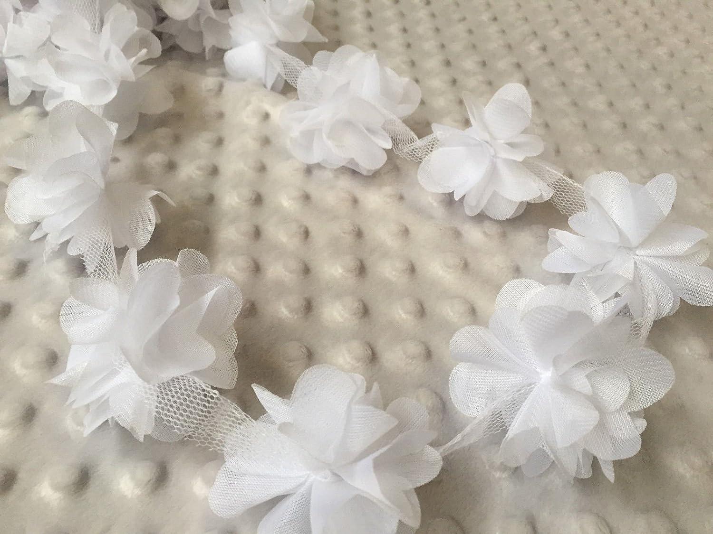 Bordino di petali di fiori con foglie in chiffon per abito da sposa, pizzo, colore: bianco, vendita al metro HomeBuy