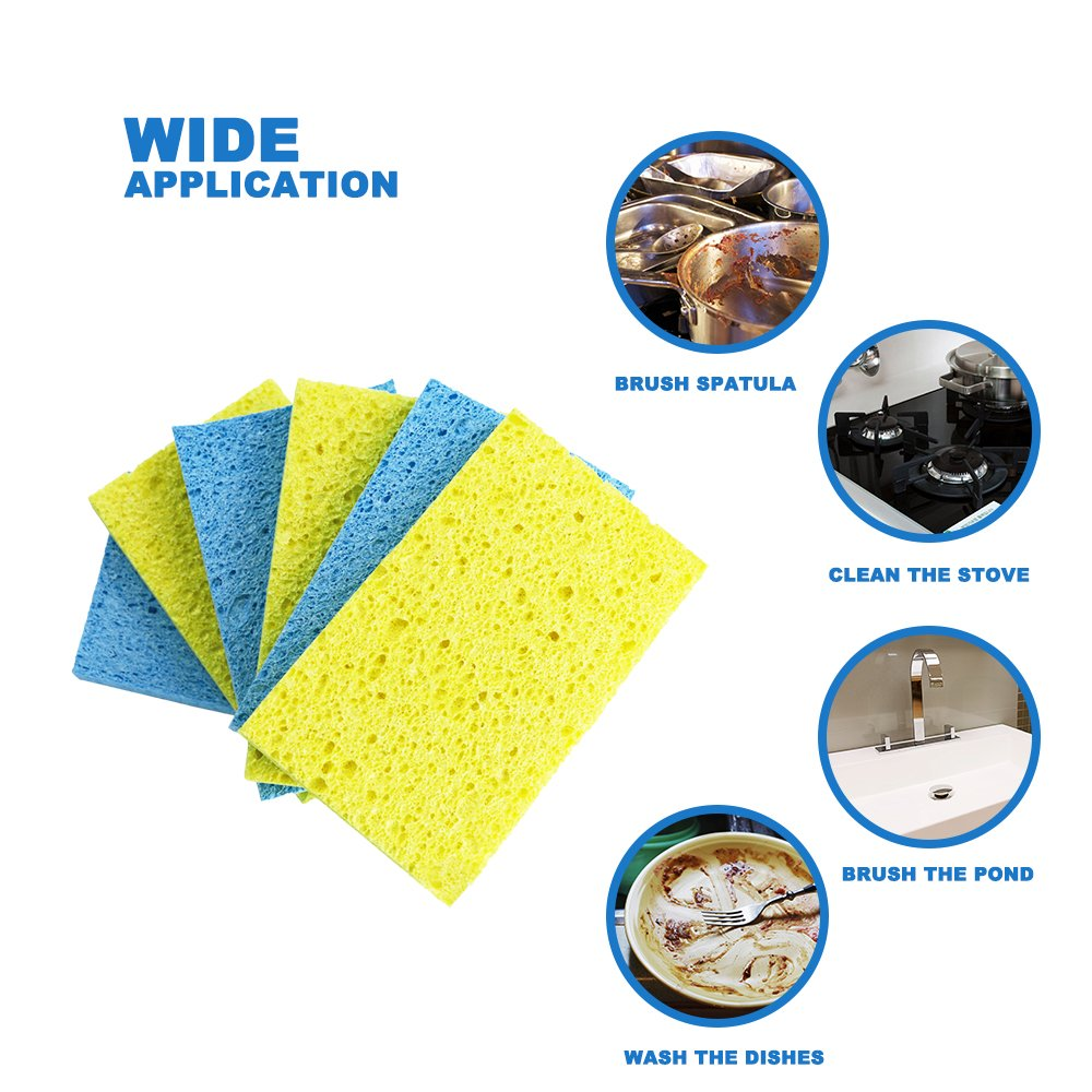 Mastertop 16PCS/Pack Cellulose Cleaning Scrub Sponge for Kitchen Multifunctional Dishwashing Sponges Yellow and Blue by Mastertop (Image #9)