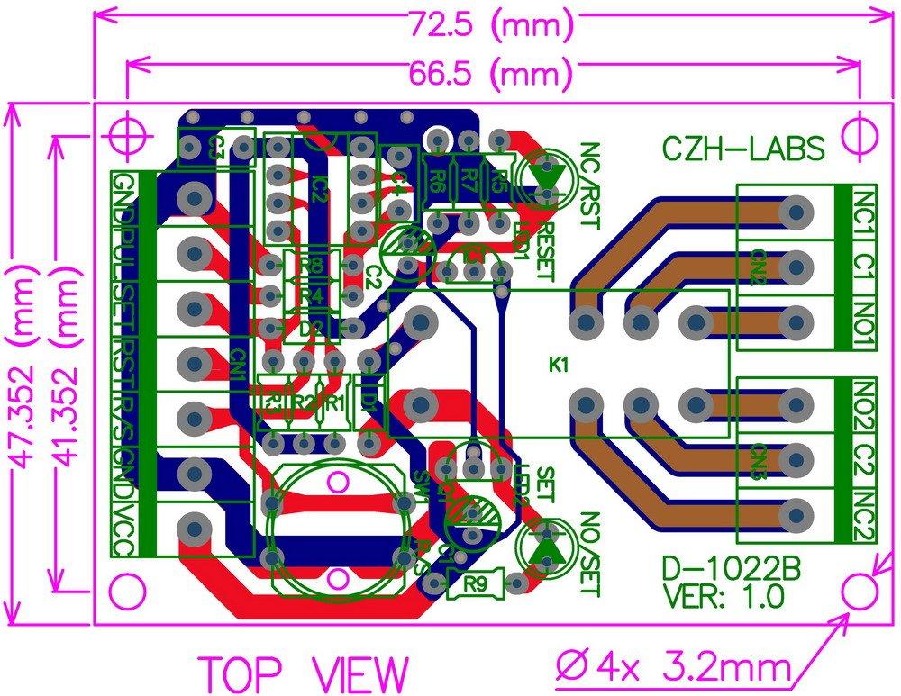 ELECTRONICSSALON Panel Mount MomentarySwitchPulseSignal Control