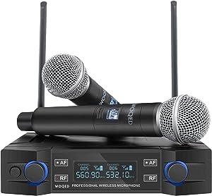 UHF Wireless Microphone System, WOQED Wireless Microphones, Instrument Dynamic Microphones, Cordless Mic Set, Wireless Microphones for Singing, Party, Home Karaoke, Meetings, Weddings, Church, YouTube