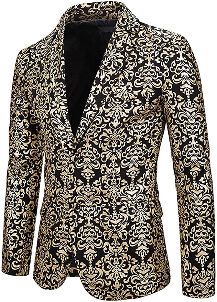Goddessvan 2019 Fashion Mens Casual Print Suit Notched ...