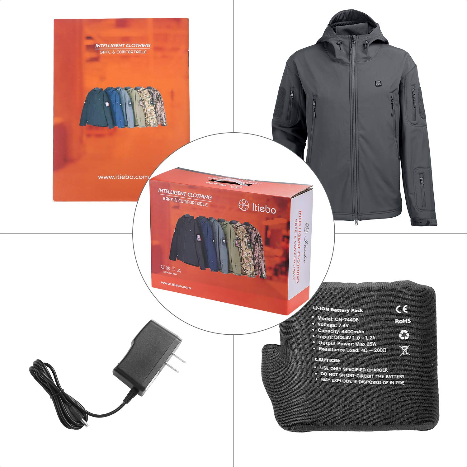 ITIEBO Mens Heated Jacket Electric Battery Pack: Waterproof Warm Heated Clothes