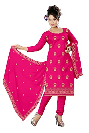 bbb22aeb8ca40 Udaan Womens Satin Dress Material(Rml03_Deep Pink_Free Size): Amazon ...