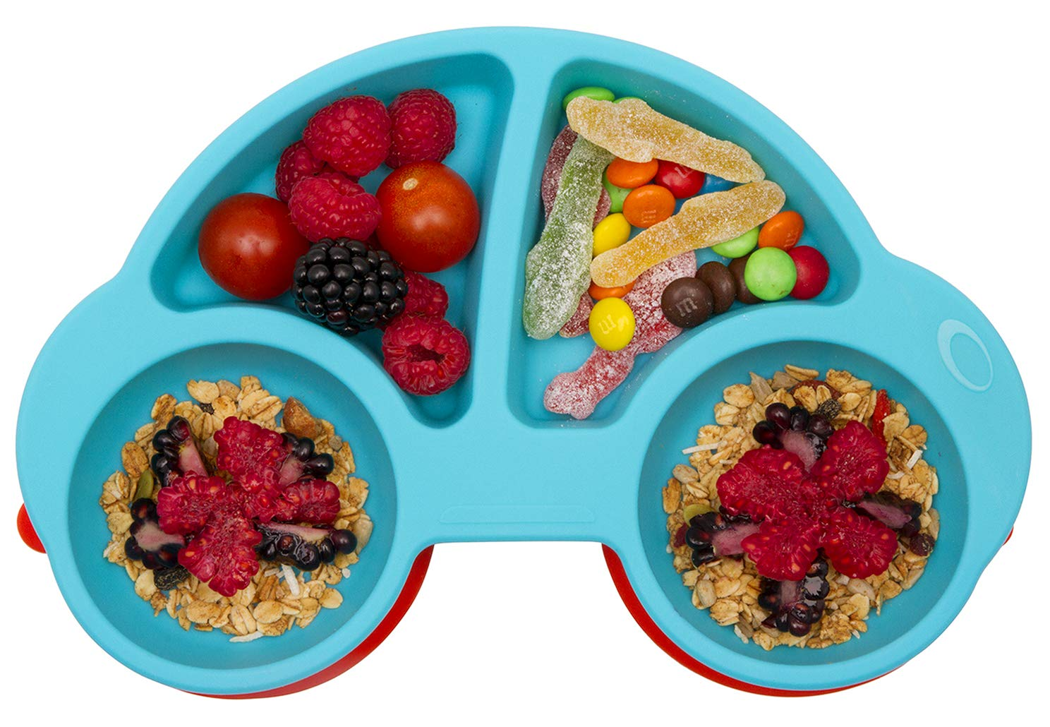 Toddler Plates,Cartoon Car Silicone Plate Suction Bowl Integrated Non-slip Baby Plate with Dividers blue