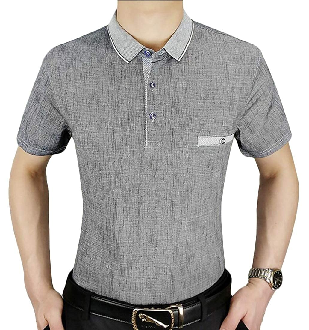 zhaoabao Mens Casual Solid Color Slim Fit Formal Short Sleeve Polo Shirt