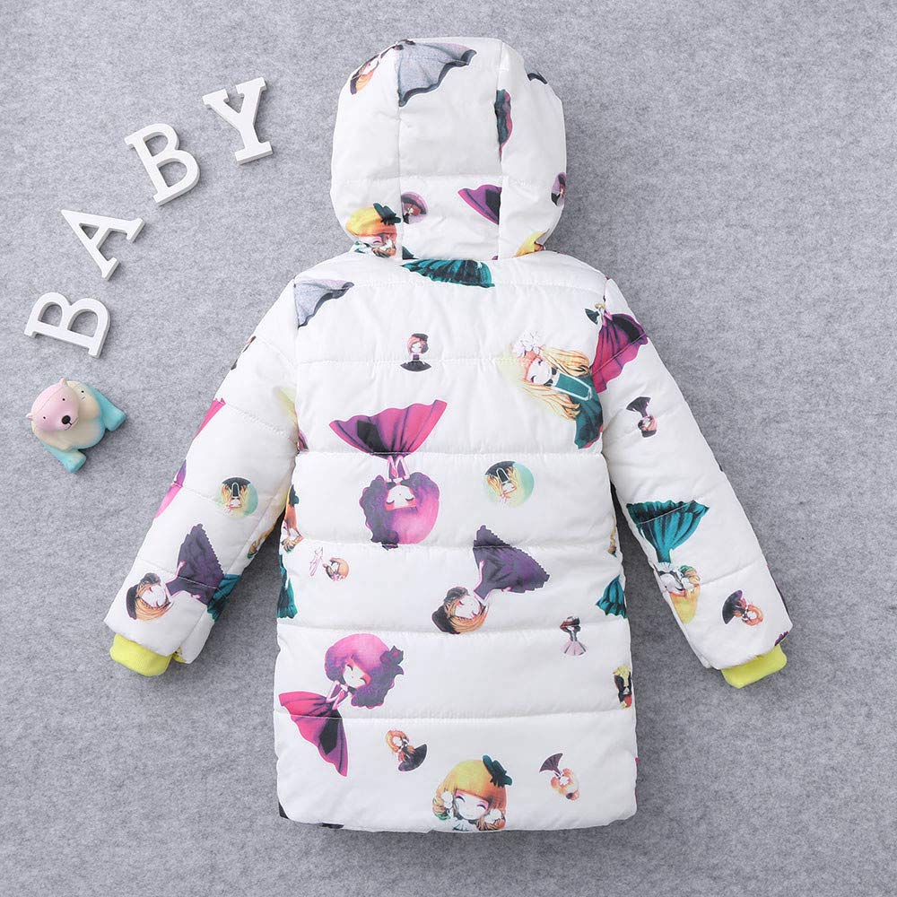 KONFA Teen Toddler Baby Boys Girls Winter Warm Clothes,Hooded Cotton Down Jacket Wind Coat,Kids Dolls Print Snowsuit