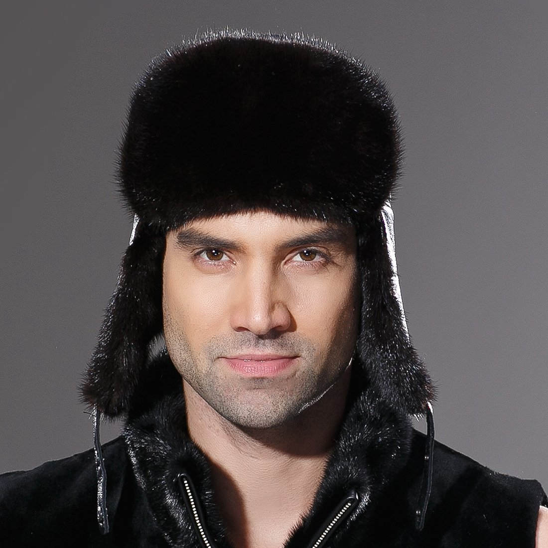 URSFUR Winter Leather Men Fur Hat Real Mink Fur Russian Trapper Hats Black by URSFUR (Image #2)