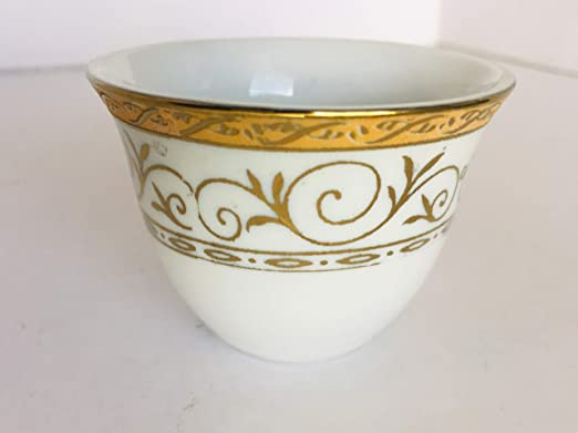 Gold Arabesque Turkish Arabic Coffee Cups Gawa 3 oz 80 cc Set of 12