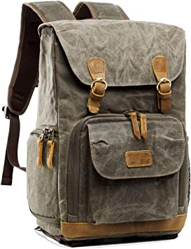 electronic Camera Backpack Canvas Camera Bag Waterproof Double Shoulder Strap Camera Bag Photography Backpack