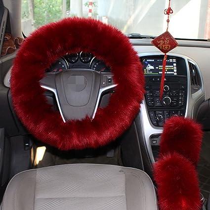 1 Set 3 Pcs Steering Wheel Cover Faux Wool Hand Brake Warm Winter Wine