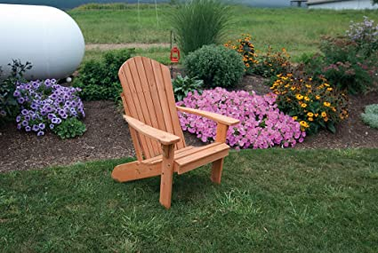 Amazon Com Cedar Fanback Adirondack Chair Stained Amish Made