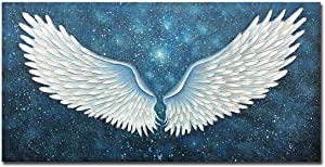 Boiee Art,24x48Inch Oil Hand Paintings 100% Hand Painted White Angel Wing Painting on Canvas Abstract Textured Blue Wall Art Contemporary Artwork Modern Home Decor Art Wood Inside Framed Hanging Wall Décor