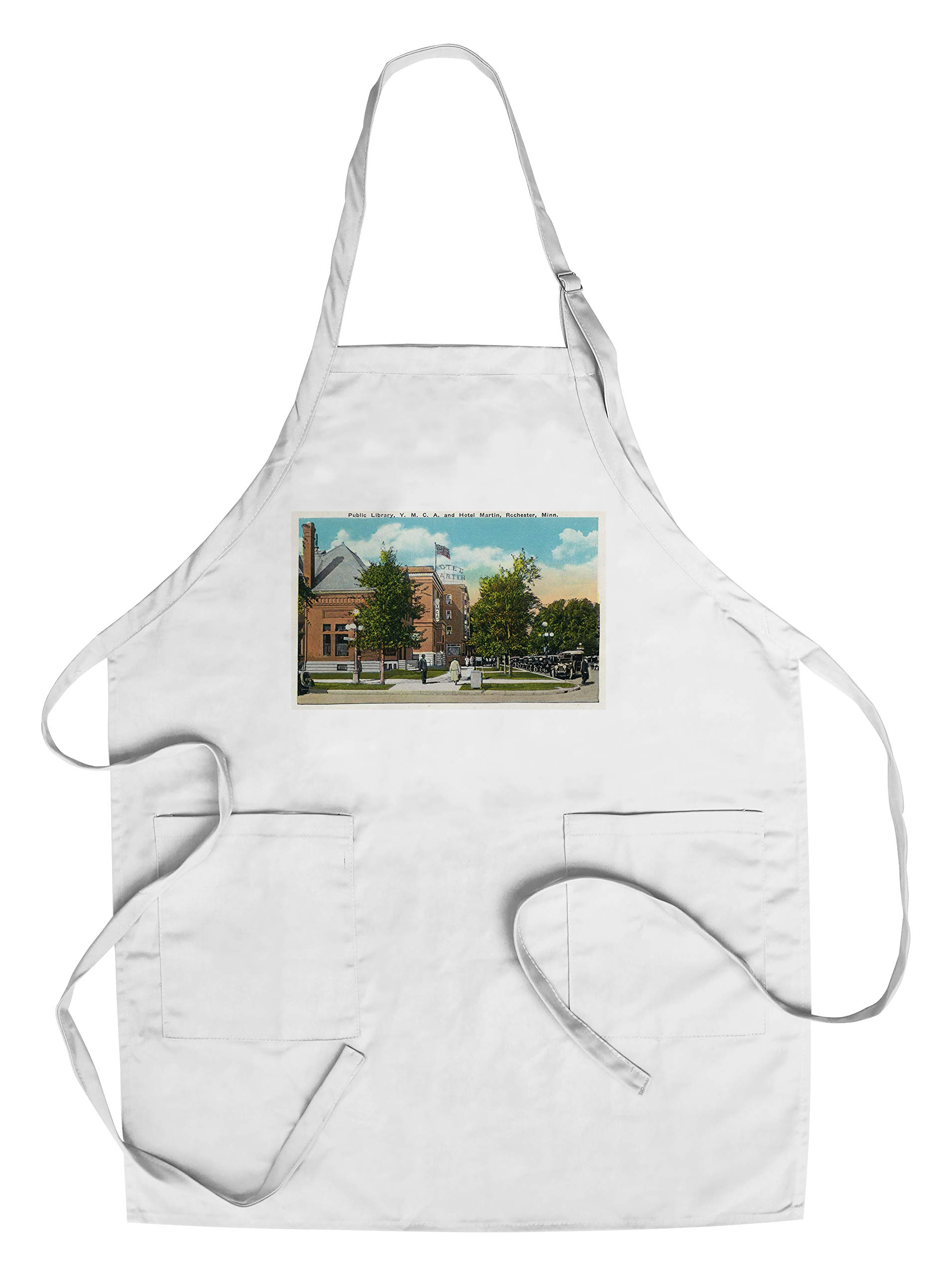Rochester, Minnesota - Exterior View of the Public Library, YMCA, and the Hotel Martin (Cotton/Polyester Chef's Apron)