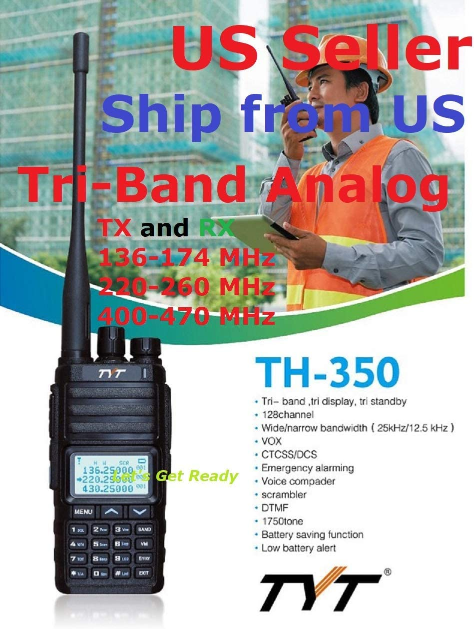 TYT TH-350 Tri-Band Radio 136-174 MHz (VHF), 220-260 MHz (1.25M), 400-470MHz (UHF) Analog Amateur Radio Ship from US only