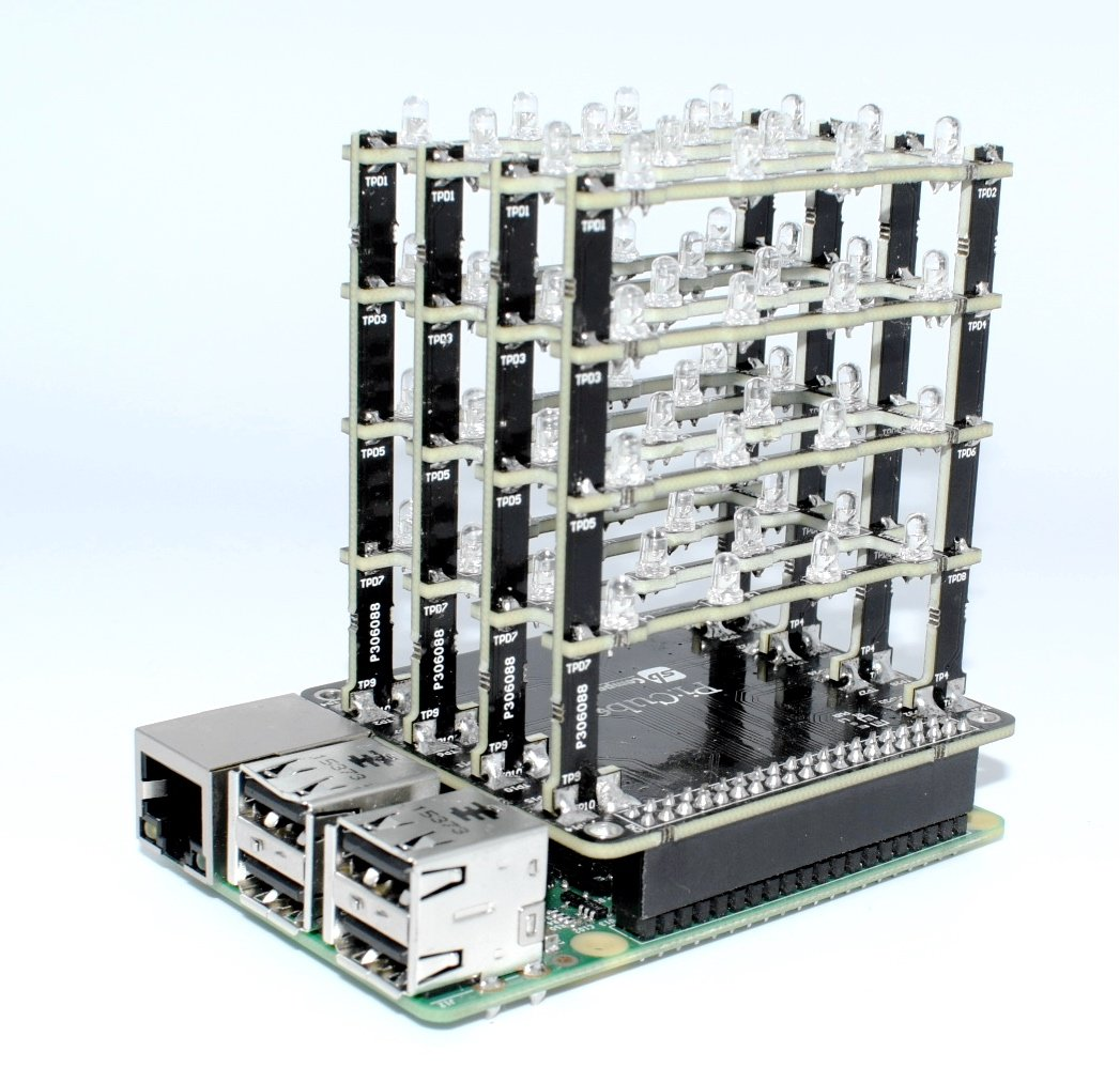 sb components PiCube 4x4x4 LED Cube for Raspberry Pi 3,2, Zero and A+ Assembled (Blue)