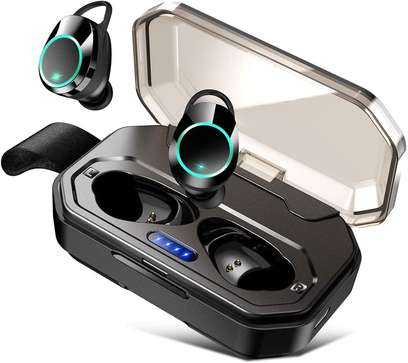 Bluetooth 5.0 Wireless Headphones, IPX7 Waterproof for Sport One-Key Control Hi-Fi Sound Quality Stable Connection