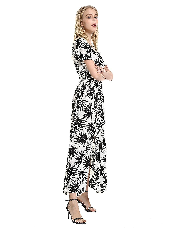 30ef4742d09e3 ZAN.STYLE Women's V-Neck 3/4 Sleeve Button-up Split Floral Print Long Maxi  Dress
