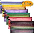 Selizo 6 Pcs Pencil Pouch Plastic Pencil Cases Zipper Mesh Pouch Bag for Office Pen Cosmetic Makeup