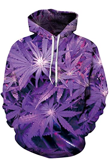 Cutiefox Womens Marijuana Leaf Print Pullover Sweatshirt Hoodie Purple XXL