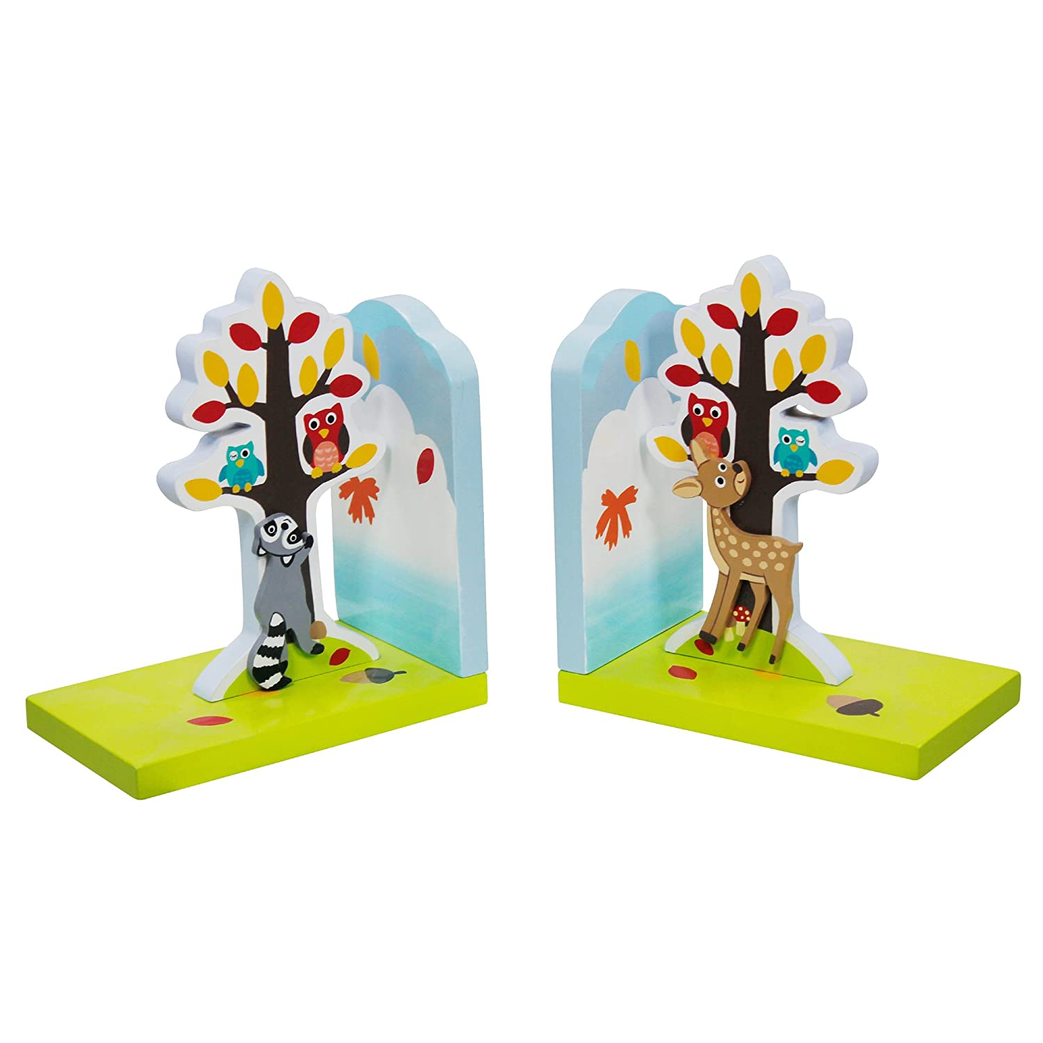 Fantasy Fields - Enchanted Woodland themed Set of 2 Wooden Bookends for Kids | Hand Crafted & Hand Painted Book Ends | Child Friendly Water-based Paint Teamson TD-11702A