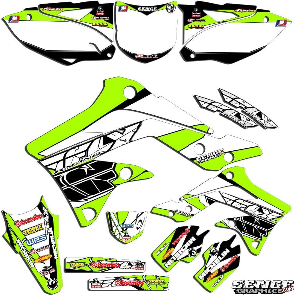 2-STROKE Compatible with Kawasaki Fly Racing Black Base Senge Graphics Kit 1999-2002 KX 125//250