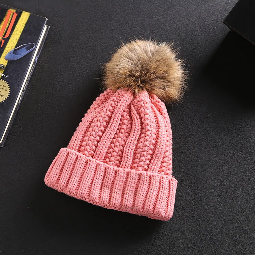 Powerfulline Stylish Cute Ball Women Girl Hat Knitted Thicken Warm Casual Beanie Cap Wine Red