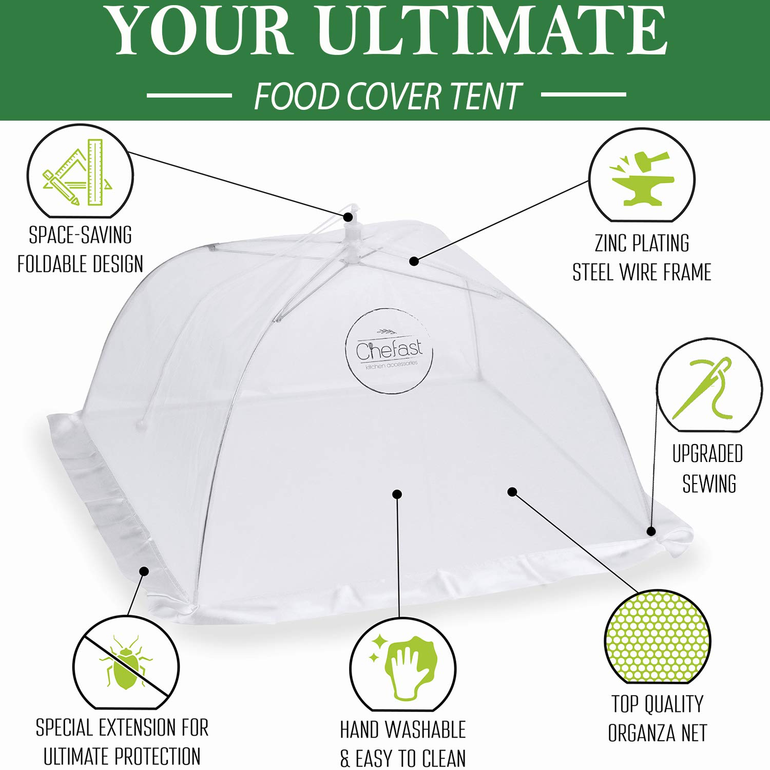 Chefast Food Cover Tents (5 Pack) - Combo Set of Pop Up Mesh Covers in 3 Sizes and a Reusable Carry Bag - Umbrella Screens to Protect Your Food and Fruit from Flies and Bugs at Picnics, BBQ and More by Chefast (Image #4)