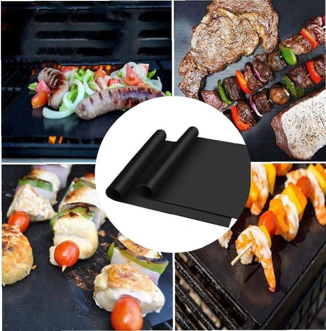 5pcs antiadh/ésifs BBQ Grill Mat Pad ext/érieur Pique-Nique Tapis de Cuisson Barbecue Outils Accessoires de Camping 3pcs