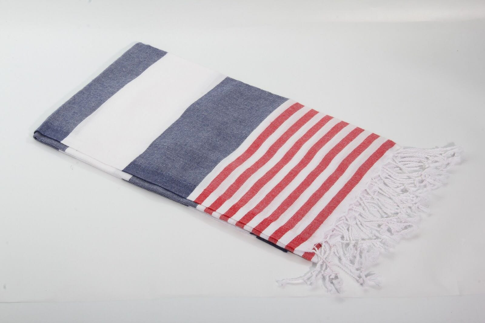 Sale Of (XL)Extra Large Traditional Turkish %100 Cotton Peshtemal Hamam Bath Face Spa Towel (Navy / Red)