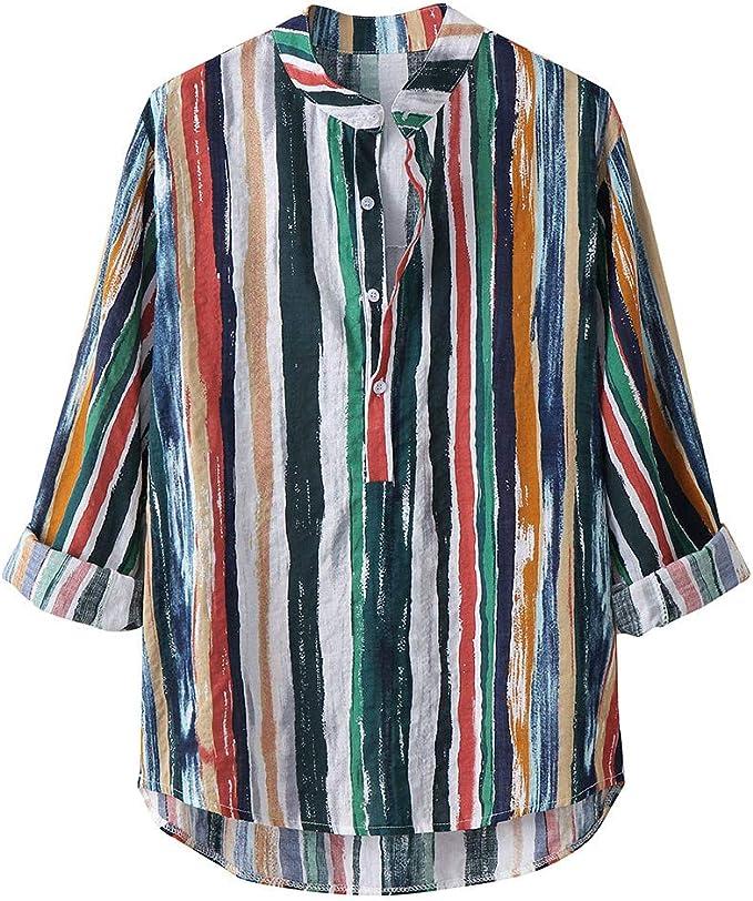 iLXHD Mens Long Sleeve Printed Lump Long Sleeve Round Hem Loose Shirts Blouse Top