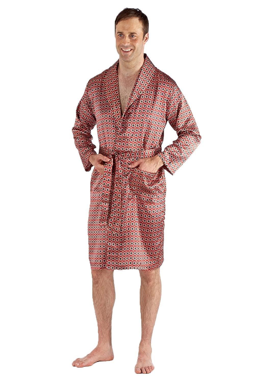 Mens Paisley Summer Kimono Wrap Light Satin Dressing Gown Robe Blue Red Nightwear Heaven